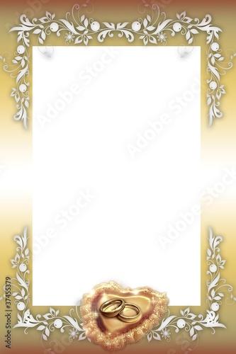 Goldener Rahmen Hochzeit, Trauringe Stockfotos und