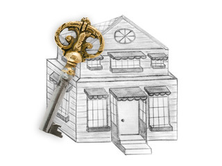 Drawing house and key