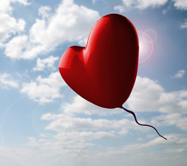 Romantic Red Heart On Cloudy Sky
