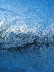 Frosty pattern on pane