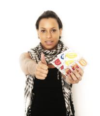 Frau mit Condomen
