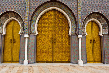 Ornate Doors to Royal Palace in Fez
