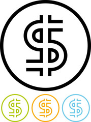 U.S. Dollar sign - Vector icon isolated on white