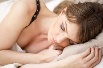Beautiful woman sleeping, relaxing, dreaming