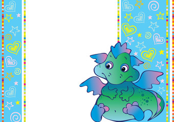 Photo sur Plexiglas Dinosaurs New Years card with baby dragon.
