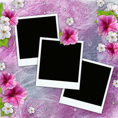 Vintage background with frames for photos, flowers