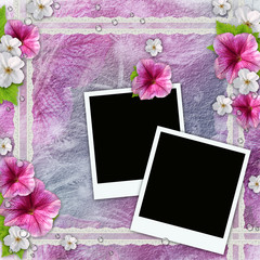 Vintage background with frames for photos, flowers, lace