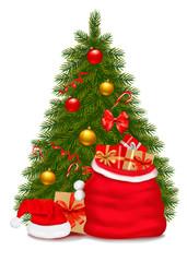 Christmas tree and santa bag with gifts. Vector