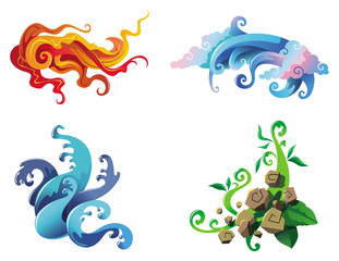 The Four Elements, fire, air, water and earth, vector