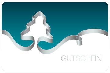 Gutschein Schleife Weihnachtsbaum silber/türkis