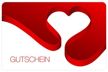 Gutschein Schleifenband Herz Bogen rot