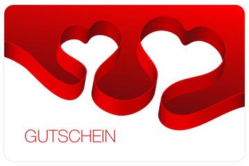 Gutschein Schleifenband 2 Herzen rot