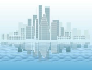 Modern city district vector illustration