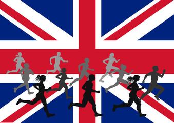 2012 Olympics Runners on UK Flag Background