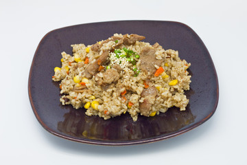 fried rice with pork and vegetable