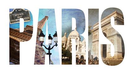 Paris, lettres collage vontage