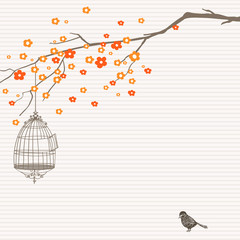 Nature design with tree, birdcage and bird.