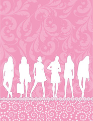 girls silhouettes on pink pattern