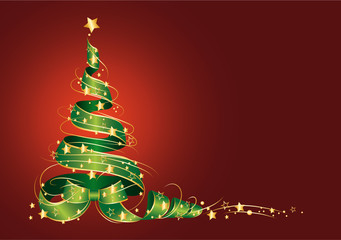 Weihnachtsbaum aus Dekoschleife mit Sterne