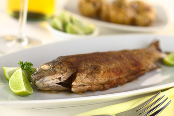 Fried trout with limes, white wine and potatoes