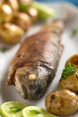 Fried trout with lime slices and potatoes