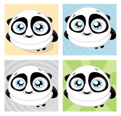 Cute big-eyed panda with bamboo