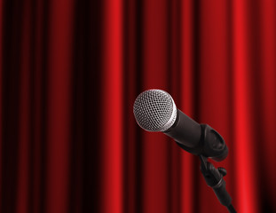 Microphone on a stage with copy space