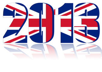 New Year 2013 with Flag of UK - a 3d image