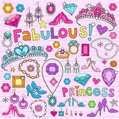 Princess Notebook Doodles Vector Illustration