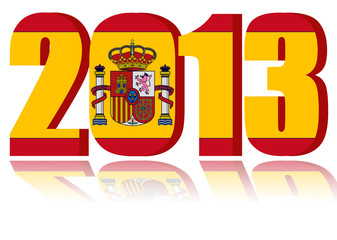 New Year 2013 with Flag of Spain  - a 3d image