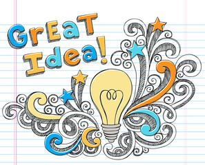 Great Idea Lightbulb Doodle Vector Design Elements