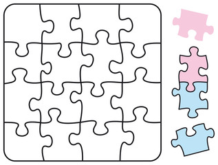 Square Jigsaw Puzzle Square with single pieces which can be individually removed and arranged. Illustration on white background. Vector.