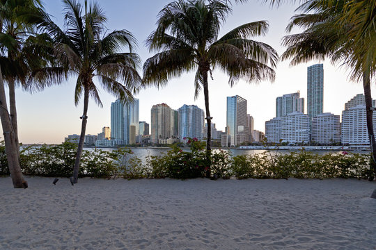 downtown miami vista from island beach