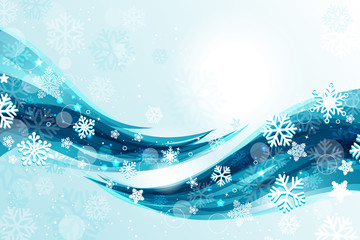 Christmas background with blue waves and snowflakes
