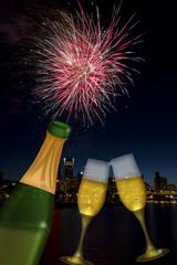 Champagne Toast with Portland Oregon Skyline
