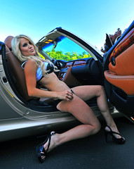 Beautiful blond getting out of a car