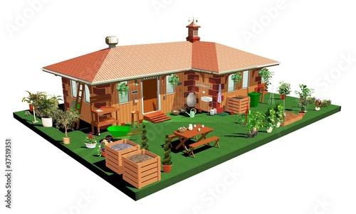 Casa di legno e giardino wooden house with garden 3d for Giardino 3d