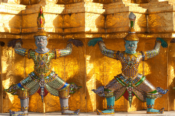 Two Giants sculpture at pagoda in Wat Phra Kaew, Thailand..