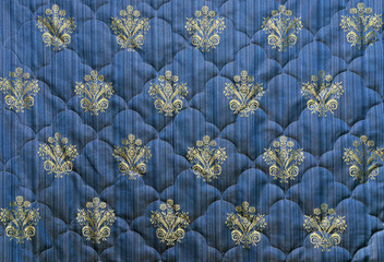 factory made quilt or patchwork stylish background  in blue and