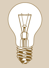 light bulb silhouette on brown background
