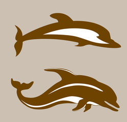two dolphins on brown background