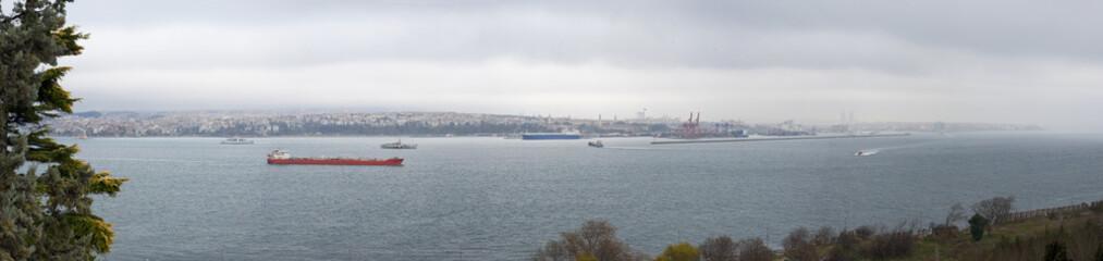Panorama of the Bosphorus river in Istanbul