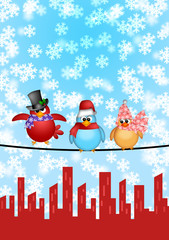 Photo sur Plexiglas Oiseaux, Abeilles Three Birds on a Wire with City Skyline Christmas Scene