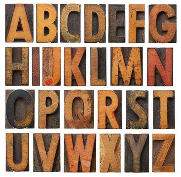 vintage wooden alphabet set