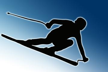 Blue Back Sport Silhouette - Speeding Skier
