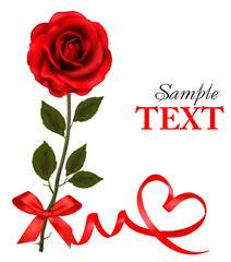 Valentine`s day card. Red rose with red bow. Vector