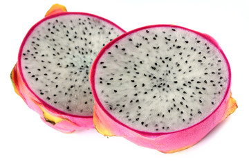 fresh Dragon Fruit cut in half, on white background