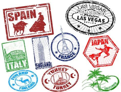 Set of stylized grunge travel stamps, vector illustration