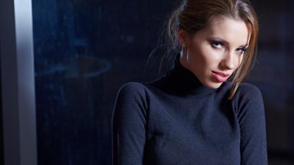 young brunette woman beauty portrait