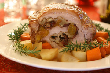 Pork Roast with Cranberries and Walnuts